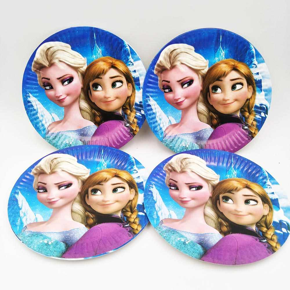 Disney Frozen Anna และ Elsa party supplies สำหรับเด็กแผ่นถ้วยผ้าเช็ดปากมีดช้อนส้อมหมวกวันเกิดอุปกรณ์ disney