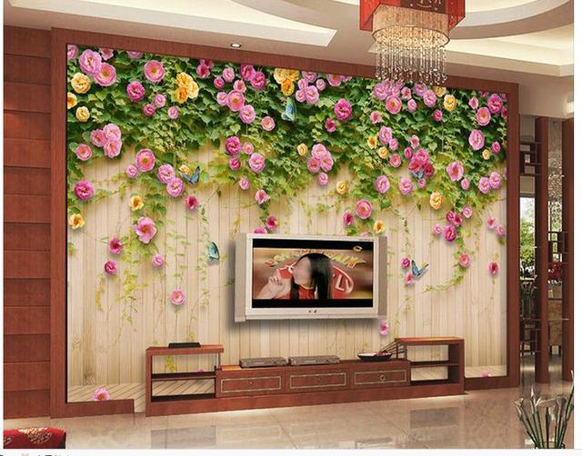 Carta Da Parati Fiori Rosa : Personalizzato 3d photo wallpaper mural 3d carta da parati fiore