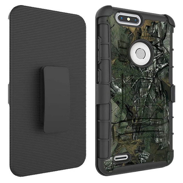 For ZTE Z982 / Blade Z MAX Pro2 Case Hybrid Heavy Duty 3 in 1 Military Camo Hard Shockproof Case 982 Belt Clip Stand Cover Case
