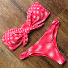Dot Swimwear Women Push Up Bikini Set Off Shoulder Swimsuit Strapless Biquini Sexy Low Waist Women's Swimming Suit Bikini 2019