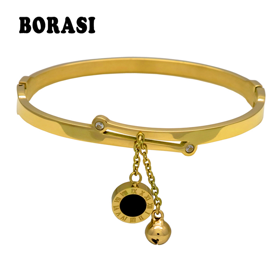 Roman Letter two-sided Shell Pendant With Bells Female Bracelets & Bangles Fashion Jewelry Design Women Stainless Steel Bracelet