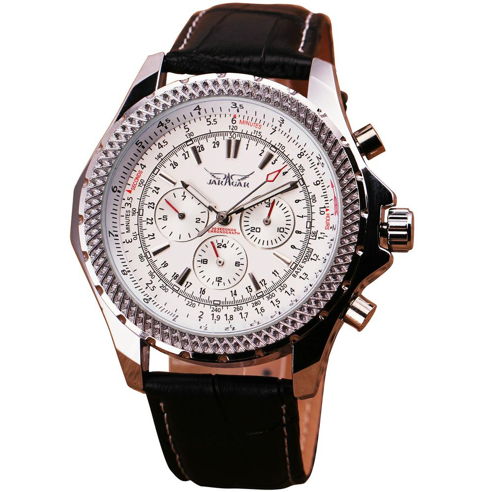 Multi-function 6 Hand 3 Dial Complex Index Men's Noble Pilot Automatic Mechanical Wrist Watch Genuine Leather Strap + Gift Box