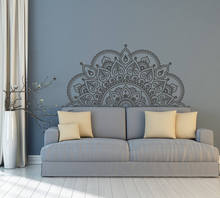 Vinyl Wall Decal Half Mandala Wall Mural Yoga Lover Gift Home Headboard Decor Half Mandala Design Car Window Stickers AY1441