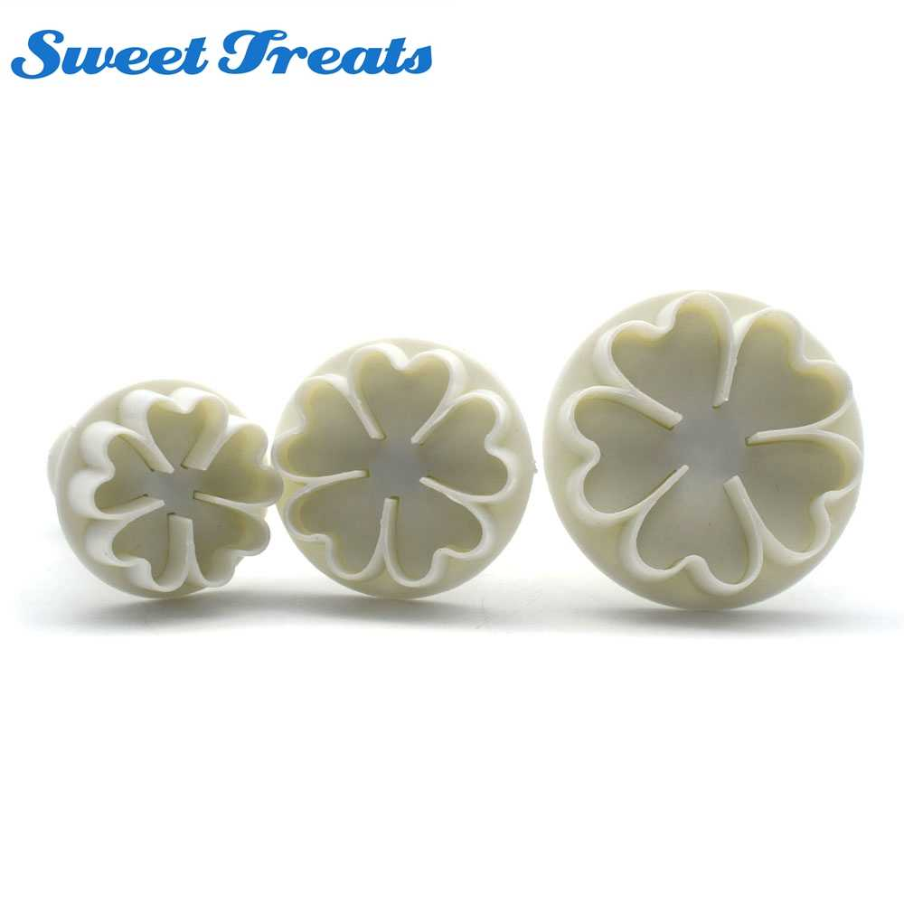 Sweettreats 3PCS/Set Heart Flower Cake Fondant Cookie Cutter Decorating Craft Paste Plunger Mold