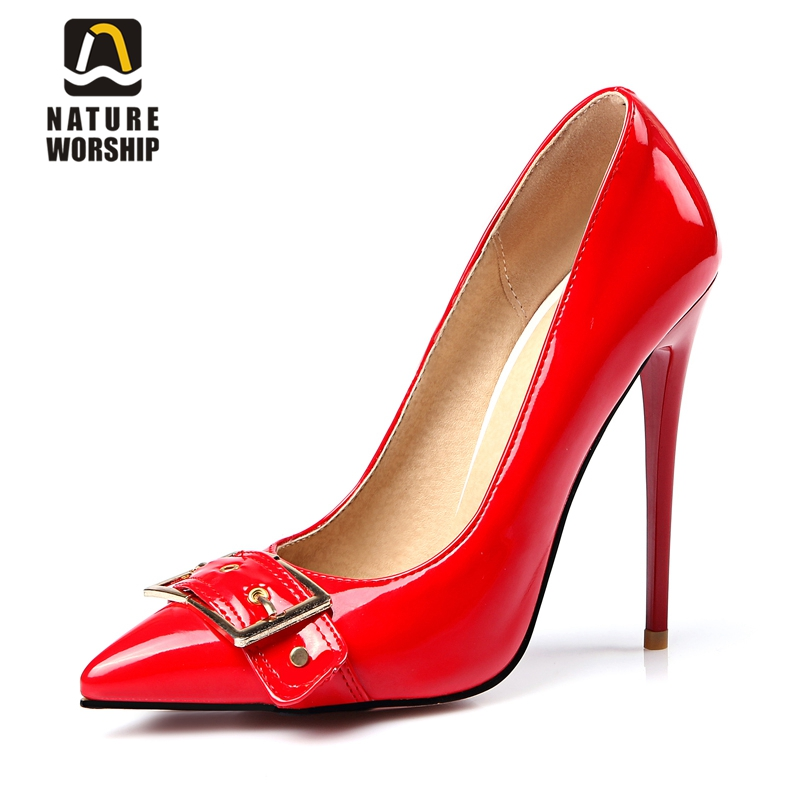 Patent leather shoes for women big size shallow pumps shoes Metal  Decoration womens shoes office careers
