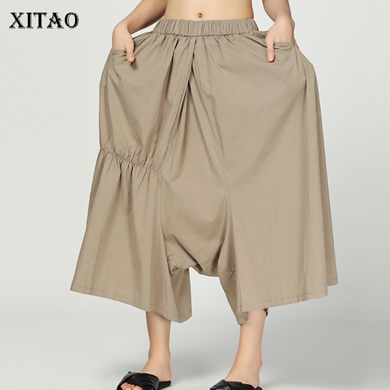 [XITAO] New Women 2019 Summer Korea Fashion Solid Color Loose   Wide     Leg     Pants   Female Elastic Waisted Ankle-length   Pants   DLL3271