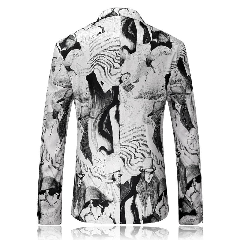 2017 nouveaux hommes blazer loisirs haute qualité costumes peinture à l'encre motif décoratif blazers hommes vestes, hommes flanelle blazers - 2