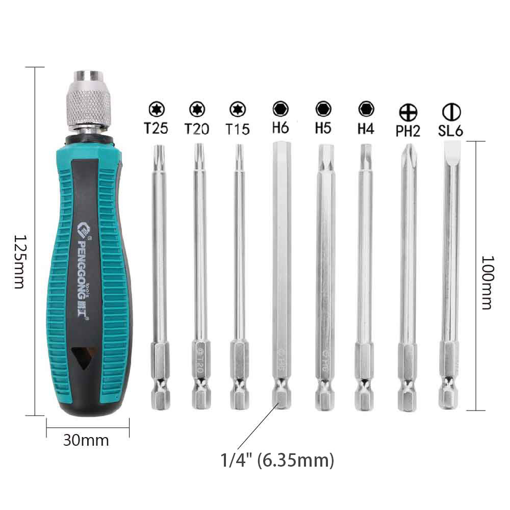 "Купить с кэшбэком DIYWORK 8Pcs/set Phillips Screwdriver with Magnetic 1/4"" 6.35mm T15 T20 T25 Torx Screwdriver Slotted Screwdrivers Hexagon"