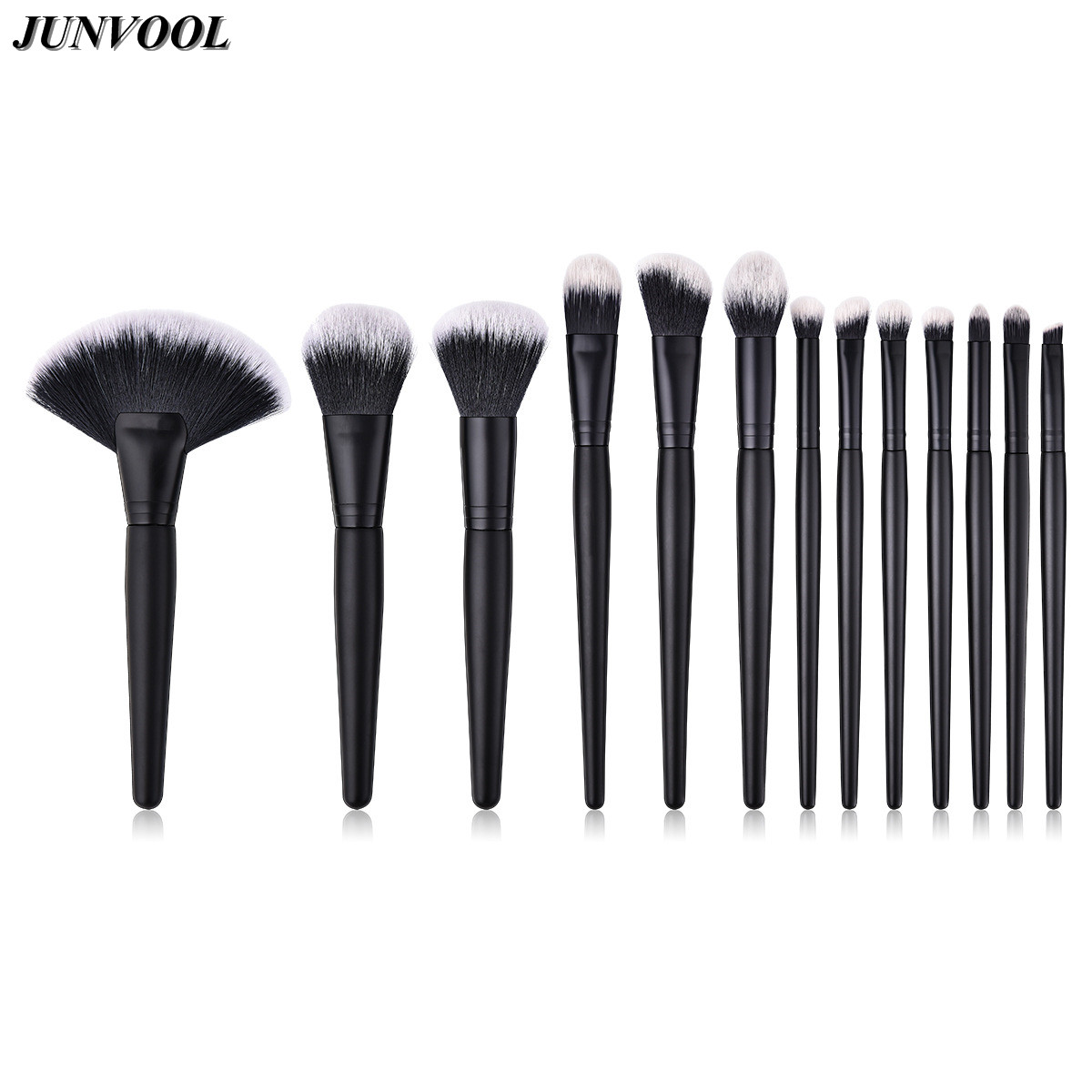 13pc Large Fan Black Makeup Brushes Set Eyeshadow Powder Foundation Concealer Blush Blending Make Up Brush Kit Flame Beauty Tool kuyomens black cap solid color baseball cap snapback caps casquette hats fitted casual gorras hip hop dad hats for men women
