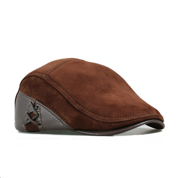 Wholesales European Style Genuine Leather Caps Beret Man Casual Sheepskin Suede Black/Brown Fitted Duckbill Hats Male Boina 1