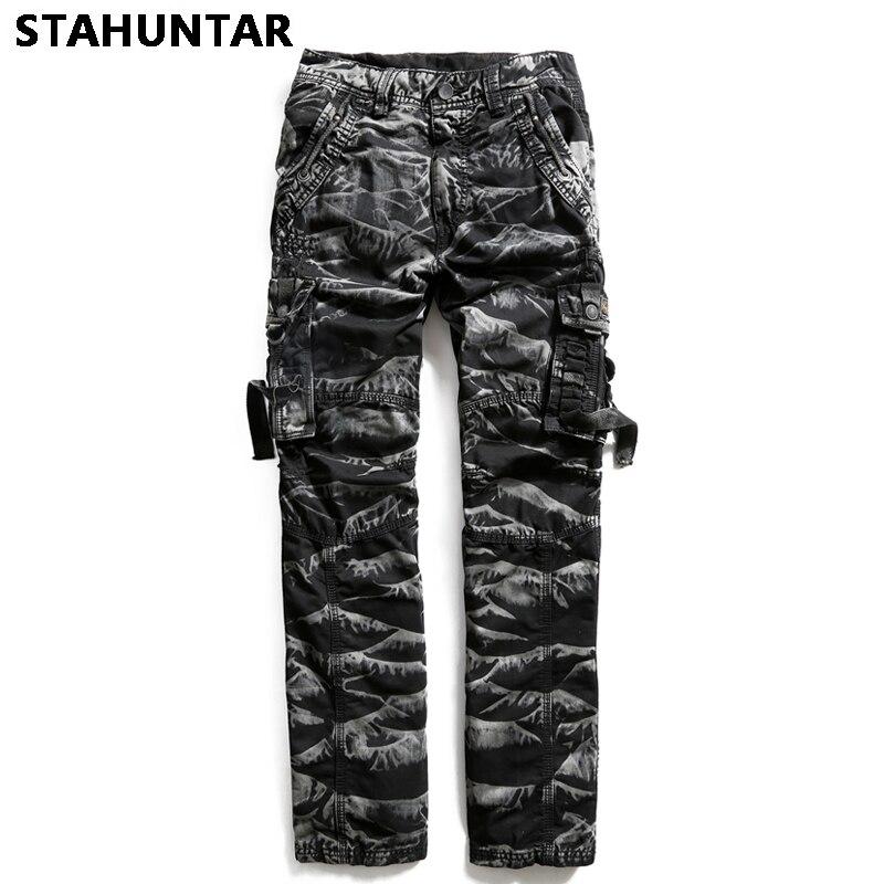 Été homme pantalon coton militaire Zipper hommes Camouflage Cargo pantalon poches décontracté tactique noir armée vert Camo pantalon hommes