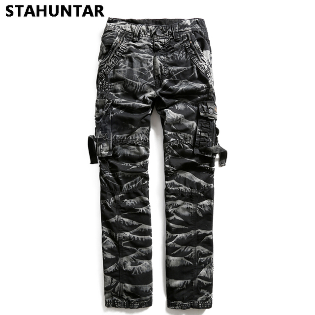 Summer Male Trousers Cotton Military Zipper Men Camouflage Cargo Pants Pockets Casual Tactical Black Army Green Camo Pants Men
