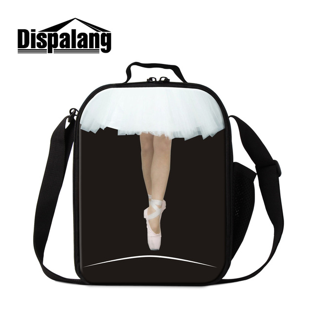 Dispalang beautiful ballet girl printed portable insulated cooler lunch box storage picnic bag for women thermal school food bag