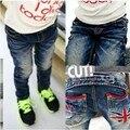Wholesale and Retail !! New Fashion children denim pants flag print boy's jeans spring autumn kids trousers Cp001