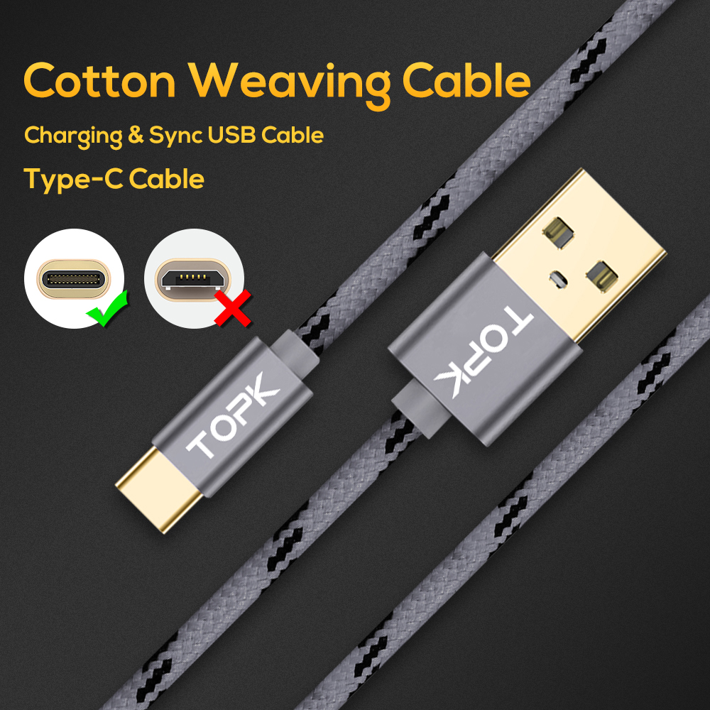 Image 2 - TOPK USB Type C Cable for Xiaomi Redmi Note 7 Mi 9 Fast Charging Data Sync USB C Cable for Samsung Galaxy S9 Oneplus 6t Type C-in Mobile Phone Cables from Cellphones & Telecommunications