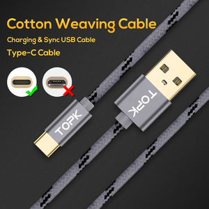 Image 4 - TOPK USB Type C Cable for Xiaomi Redmi Note 7 Mi 9 Fast Charging Data Sync USB C Cable for Samsung Galaxy S9 Oneplus 6t Type C