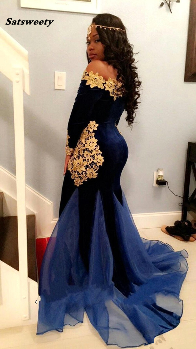 Sexy-Mermaid-Navy-Blue-Velvet-Prom-Dresses-with-Gold-Lace-Flower-Applique-Organza-Designer-Train-Long (3)