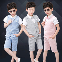 Summer Boys Suits For Weddings Boy Formal Party Christening Wedding Tuxedo Waistcoat Bow Tie Suit 3Pcs Sets Y736