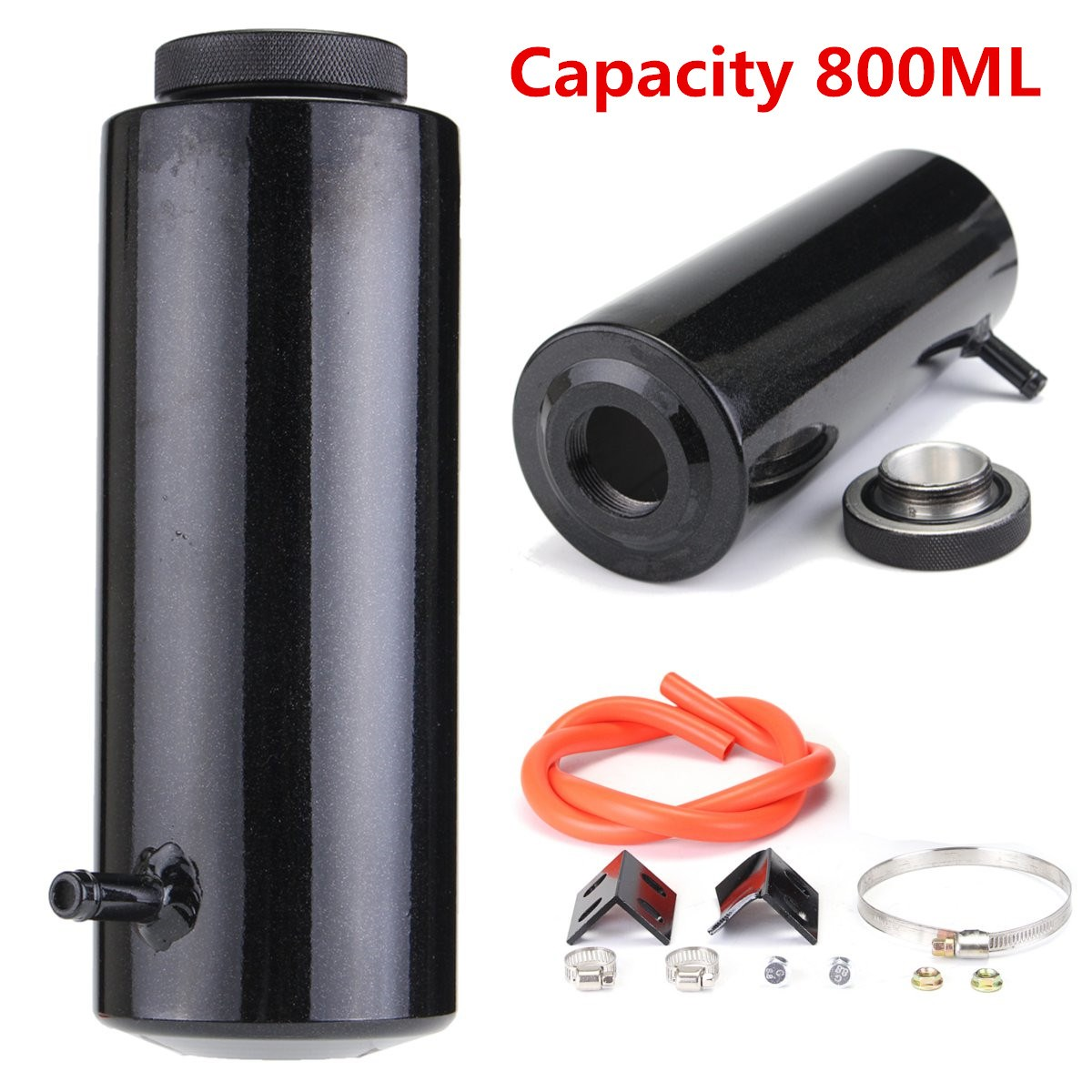 800ML Black Car Overflow Radiator Coolant Aluminum Catch