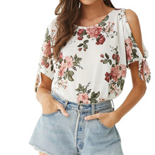 Women Blouses 2019 Fashion Short Sleeve Off Shoulder Office Shirt Chiffon Blouse Floral Print Top Casual Tops Blusas Femininas цена 2017