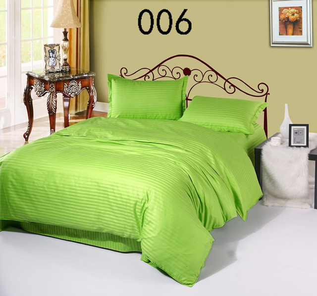 Charming Apple Green Cotton Satin Stripe 4Pcs Bedding Sets Bedclothes Set Bed Linens  Duvet Cover Quilt Cover