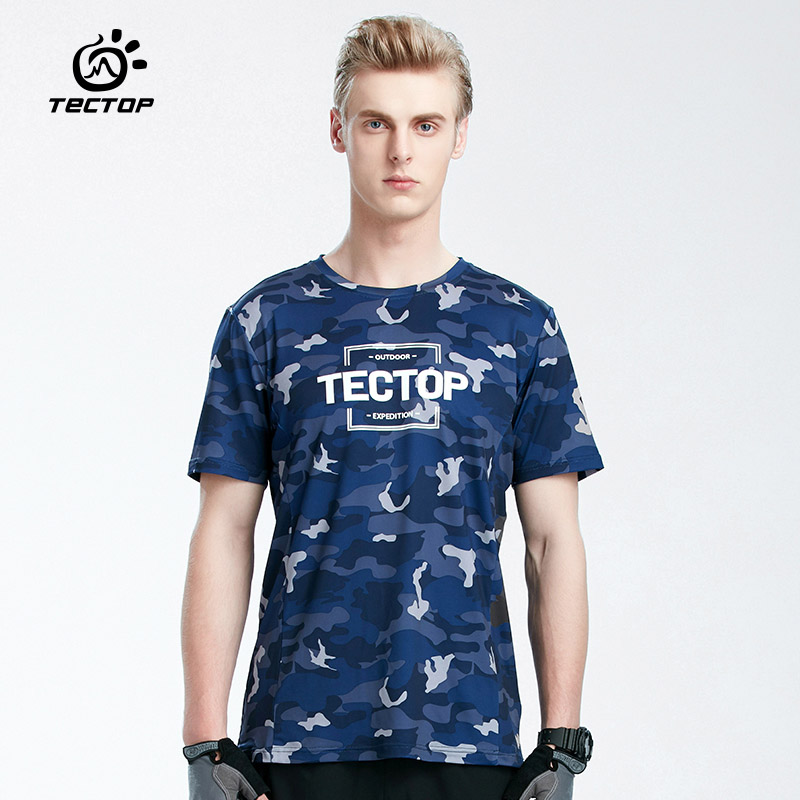 TECTOP Summer Short T-shirt Men 2018 Outdoor Sport Quick Dry Breathable Print Camouflage Hiking Camping Running T Shirt For Male