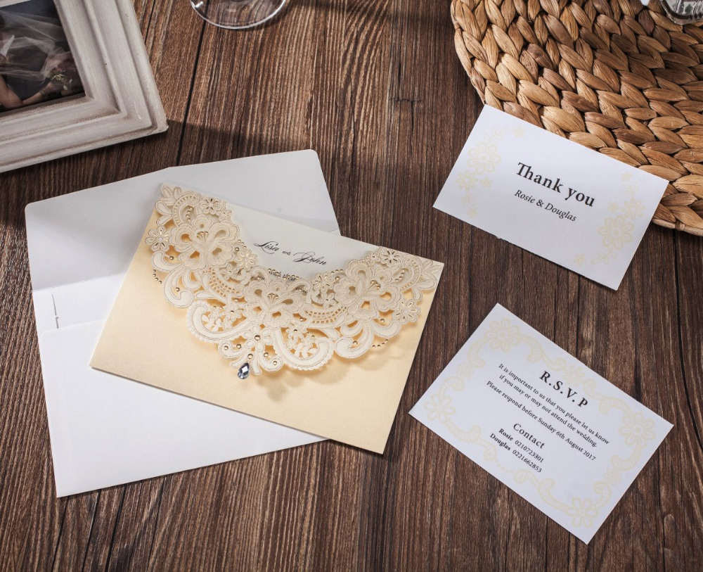 50pcs Gold Laser Cut Wedding Invitation Card With Hollow Invite Rhinestone Design with RSVP Card & Thank You Card Printable