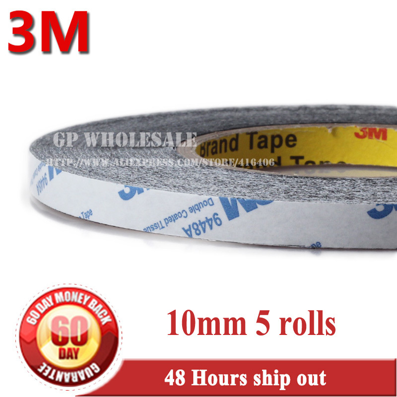 5x 10mm *50M 3M 9448 Double Sided Adhesive Tape Sticky for Mobile Phone Tablet ipad LCD Panel Touch Screen Glass Digitizer Mount 1x 76mm 50m 3m 9448 black two sided tape for cellphone phone lcd touch panel dispaly screen housing repair