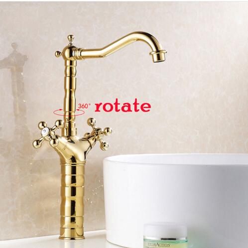 Luxury wash basin faucet hot and cold basin taps total copper dual handle single hole sink mixer gold with 50cm plumbing hose