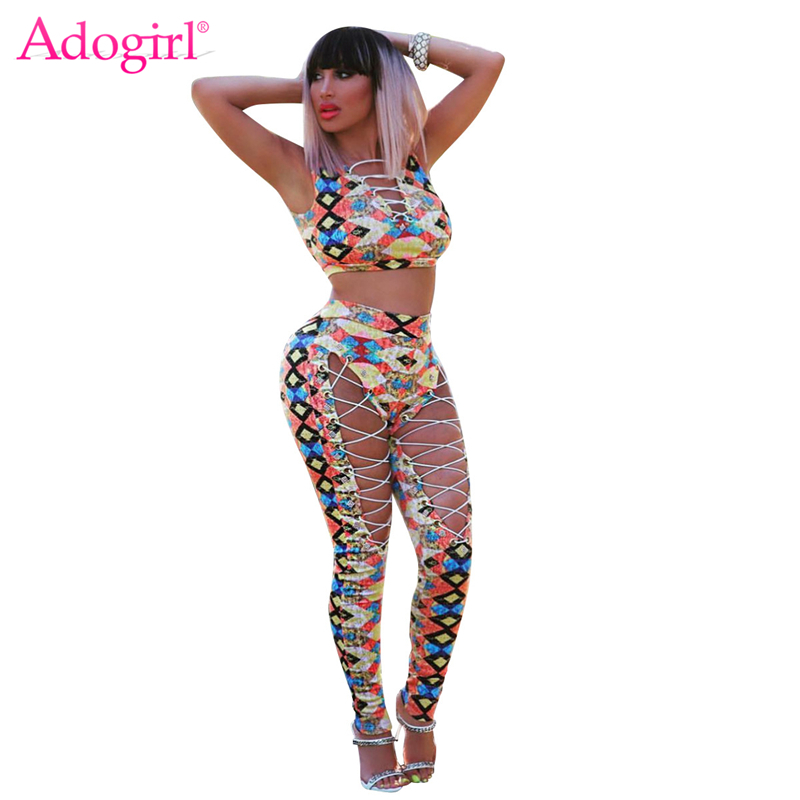 Adogirl Geometric Print Women Sexy Two Piece Set Grommet Crisscross Hollow Out Crop Top High Waist Pants Night Club Suits Outfit