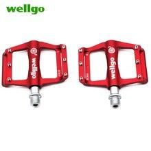 цена на wellgo 3 bearings ultralight bike pedals aluminium Anti-slip mountain bike pedals road 254g  bicycle parts cycling riding KC016