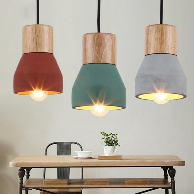 American Country Style cement Pendant Light 120cm wire E27 / E26 Socket Droplight 3 colors wood indoor Decoration Hanging Lamp