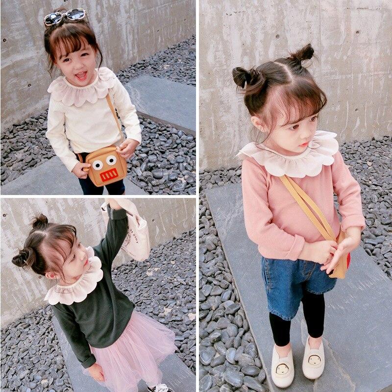 24cb19d0d Girls Shirts 2 3 4 5 6 Years Toddler Girl Long Shirt Cotton Doll Collar  Little