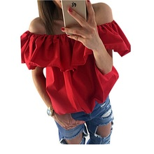 New Sexy Women Blouses off the Shoulder Elastic Slash Neck Casual Top Shirts Red Yellow(China)