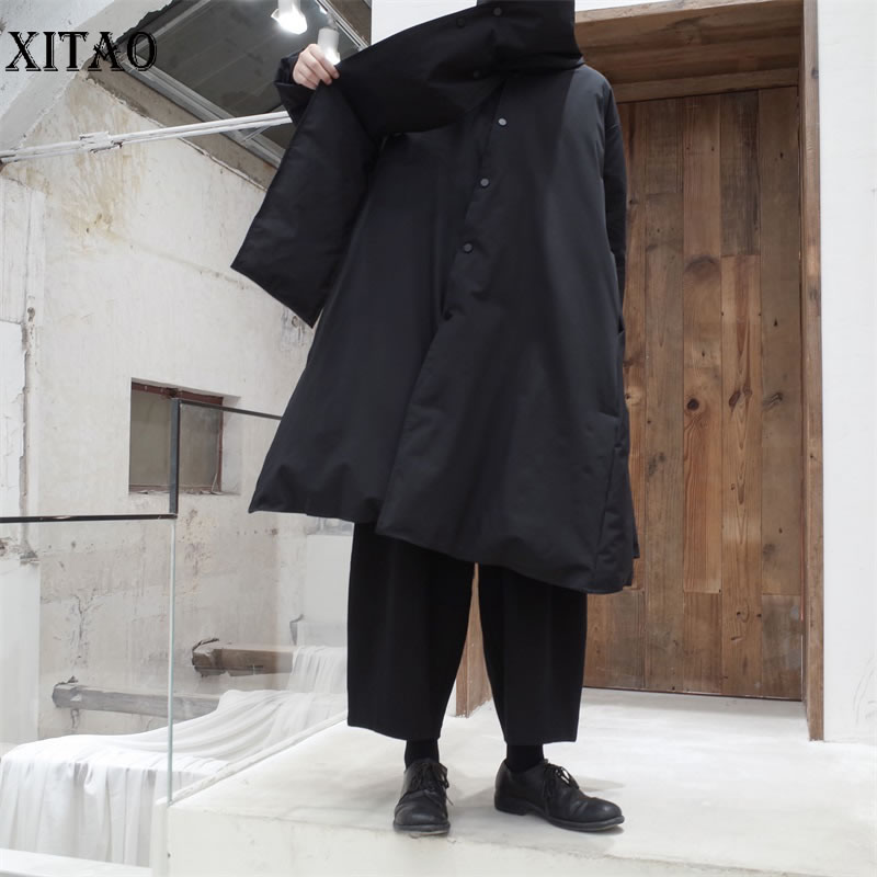 [XITAO] White Duck   Down   Spring Summer New Korea Fashion Covered Button Long   Coat   Female Solid Color Long   Down     Coat   DLL1467