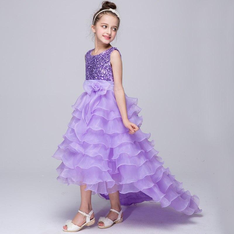 Baby Kids 2017 Trailing Dress Clothes New Flower Girls Elegant Sequined Long Mesh Wedding Birthday Party Girl children Dresses стоимость