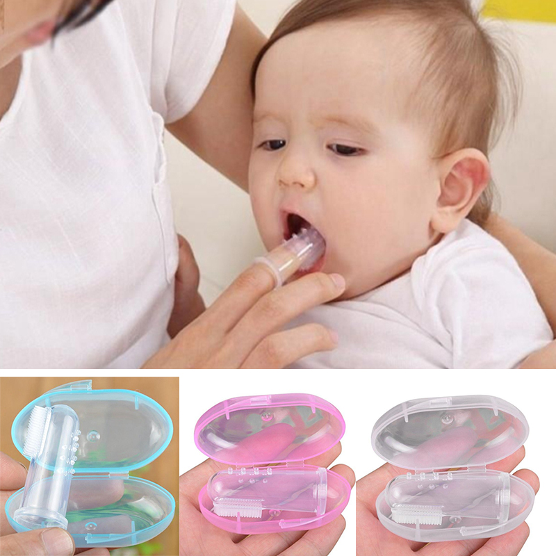 Baby Finger Toothbrush silicone +Box Children Teeth Clear BPA-free Silicone Infant Tooth Brush Rubber Cleaning Baby Toothbrush image