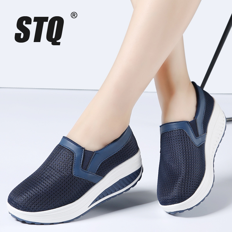 STQ 2018 Summer women platform flats casual shoes breathable mesh flats shoes ladies high increasing thick sole heel shoes 1608