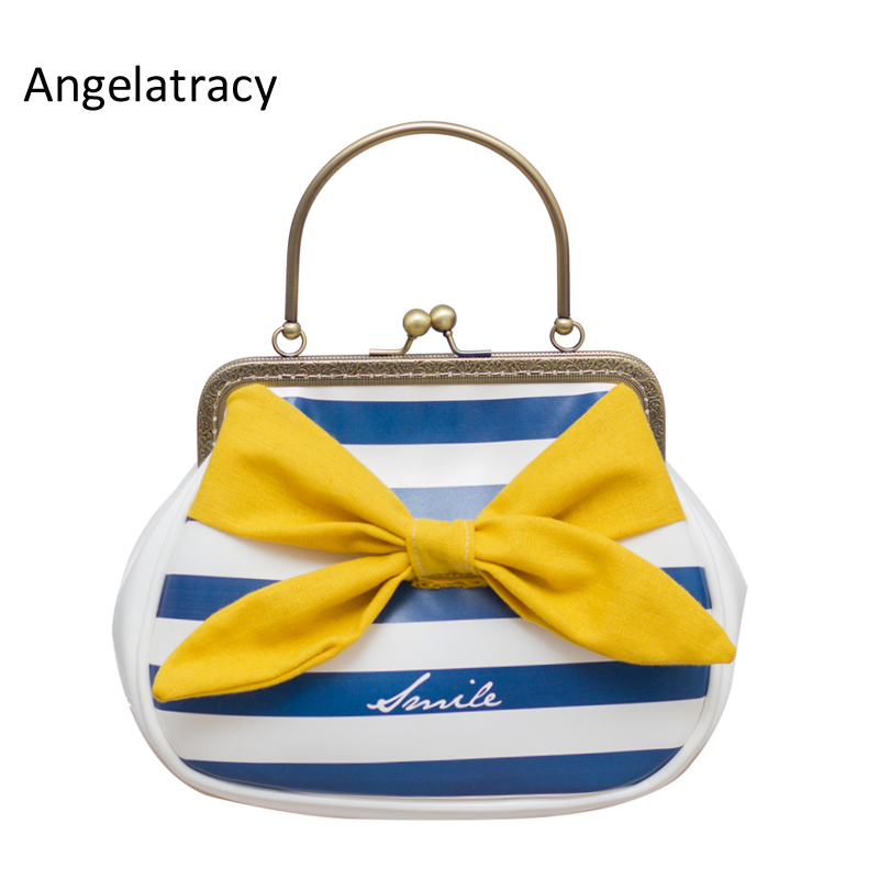 Angelatracy 2018 New PU Women Bags with Lovely Bow Yellow Blue White Striped Handbag Navy Preppy Messenger Bags Girl Mini Purse