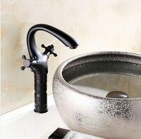 Hign масло втирают бронзовый ванной бассейна кран черного цвета бассейна раковина смеситель бортике двойной крест ручки Torneira