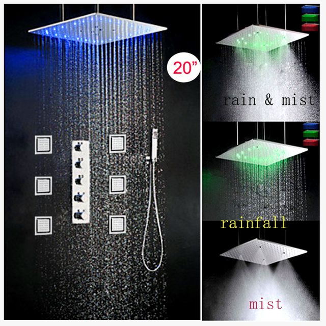 Beautiful Multi Function Rainfall Mist Shower Head Led Set Lighting With Valve Body