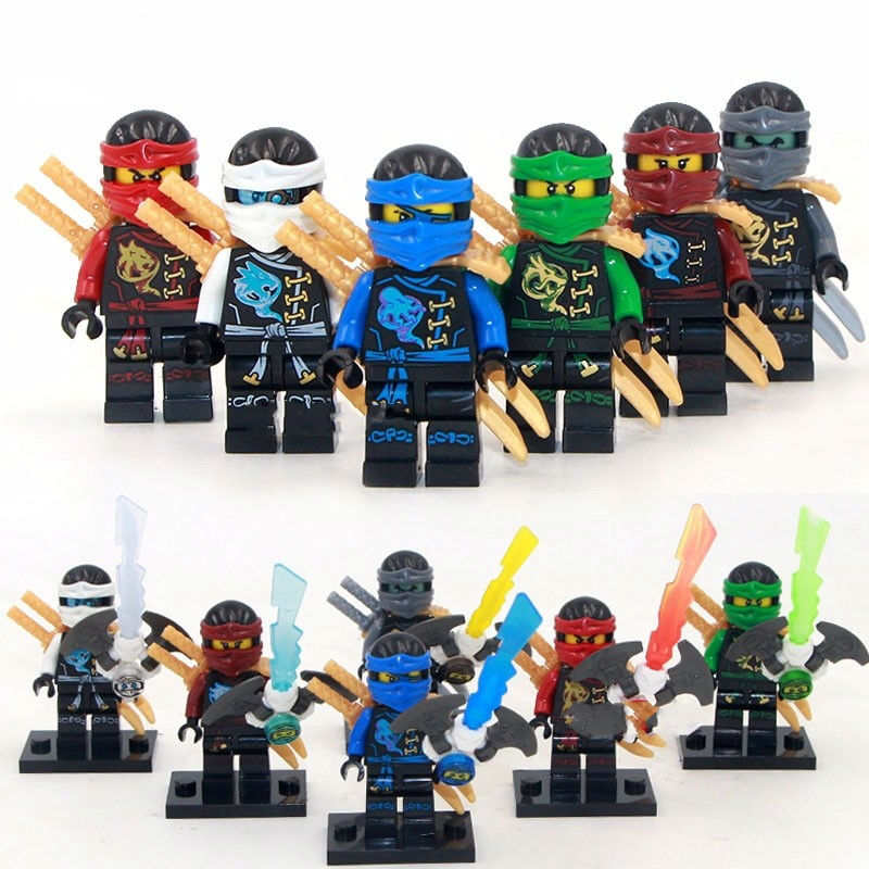 6pcs NinjagoINGlys Sets Kai Jay Cole Zane Nya Lloyd NINJA Figures With Weapons Blocks Bricks Toys Gift Compatible legoingllys