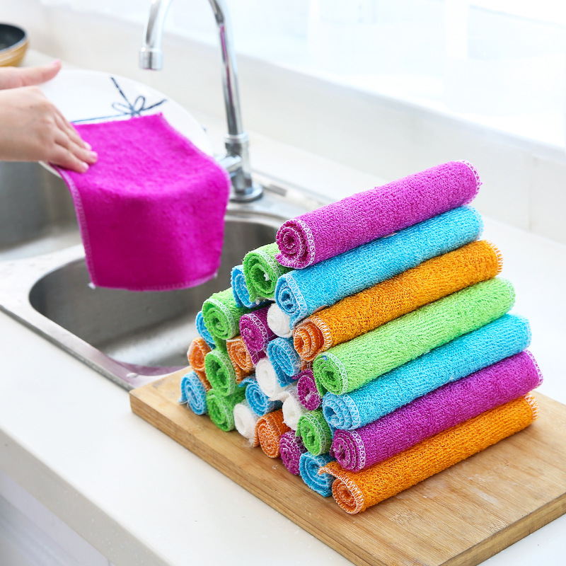 Ultra fine natural bamboo fiber dish towel/no lint Oil free dish cloth/bamboo charcoal to oil rag23*18-in Cleaning Cloths from Home & Garden