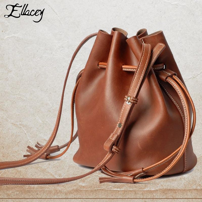 Ellacey Brand Women Crossbody Bag Vintage Women Small Bag Lady Real Leather Messenger Bag Crazy Horse Genuine Leather Women Bag