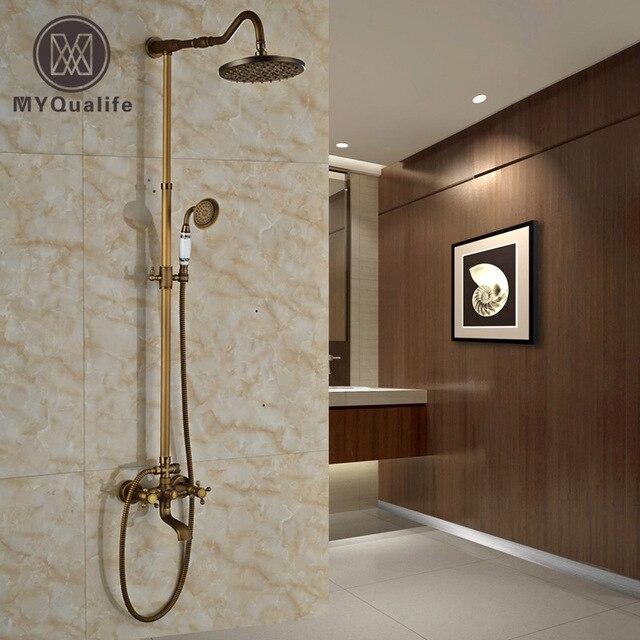 Brass Antique Bathroom Wall Mount Dual Handle 3 Functions Rainfall ...
