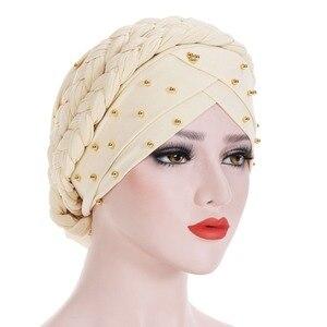 Image 3 - Muslim Women Elastic Bead Cross Cotton Braid Turban Hat Scarf Chemo Beanies Cap Hijab Headwear Head Wrap Hair Accessories