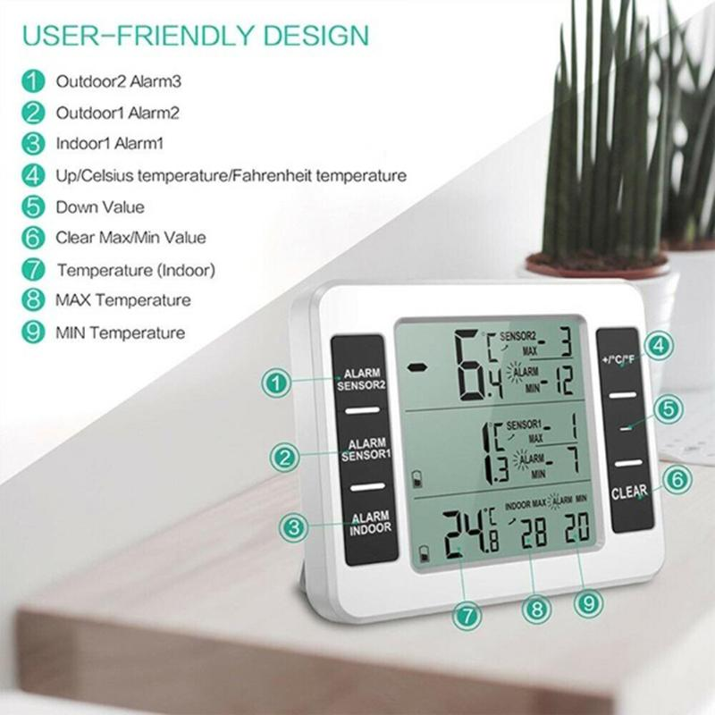 Wireless Digital Audible Alarm Refrigerator Thermometer with 2PCS Sensor Min Max Display Indoor Outdoor Thermometer Dropshipping in Temperature Instruments from Tools