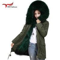 Новая реальная енота меховой воротник выстроились с пальто с мехом лисы Лайнер Женский пальто Армейский Зеленый Длинные куртки тонкий зимн
