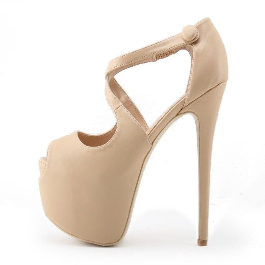 Classique élégant Nude noir Ultra haut talon chaussures plate-forme Banquet chaussures sangle croisée 16 cm talon aiguille clouté pompes gratuit