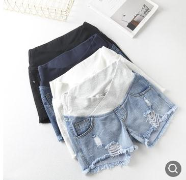 Low Waist Elastic Maternity Belly Shorts 2019 Summer New Fashion Loose Hole Maternity Jeans Clothes for Pregnant Women SH 8620 in Shorts from Mother Kids